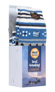 Mens SOUL WARMING Dual Layer Heat Holders Slipper Socks 6-11 UK 39-45 EUR Grey / Denim