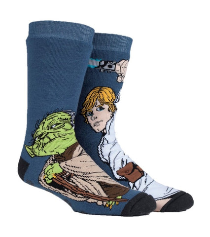 Mens Star Wars YODA / LUKE Dual Layer Heat Holders Slipper Socks 6-11 UK 39-45 EUR