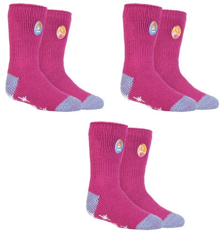 SPECIAL OFFER ... 3 Pairs DISNEY PRINCESS  Girls  / Kids Heat Holders Thermal Licensed Character Slipper Grip Socks 2 sizes