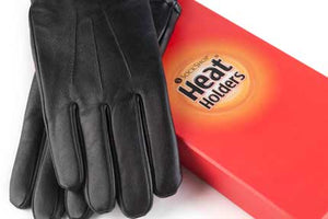 Mens Heat Holders Leather Gloves 2 Sizes