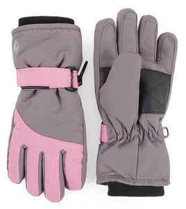 Girls Grey / Pink Performance Gloves Age 5-10 Years
