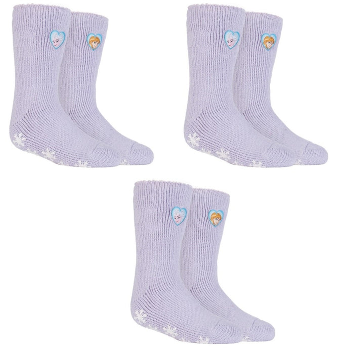 SPECIAL OFFER ... 3 Pairs FROZEN PRINCESS  Girls  / Kids Heat Holders Thermal Licensed Character Slipper Grip Socks 2 sizes