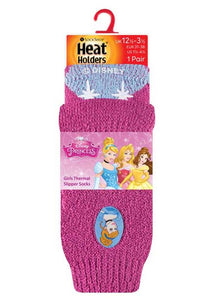 Kids Disney Princess Heat Holders Slipper Socks 2 Sizes