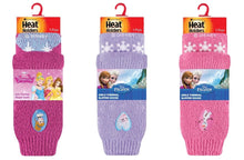 Load image into Gallery viewer, SPECIAL OFFER ... 3 Pairs Girls  / Kids Heat Holders Thermal Licensed Character Slipper Grip Socks 2 sizes