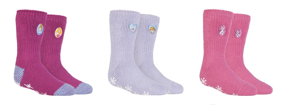 SPECIAL OFFER ... 3 Pairs Girls  / Kids Heat Holders Thermal Licensed Character Slipper Grip Socks 2 sizes