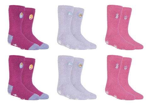 SPECIAL OFFER ... 6 Pairs Girls / Kids Heat Holders Thermal Licensed Character Slipper Grip Socks 2 sizes