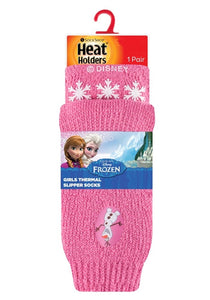 SPECIAL OFFER ... 3 Pairs FROZEN OLAF Girls  / Kids Heat Holders Thermal Licensed  Character Slipper Grip Socks 2 sizes
