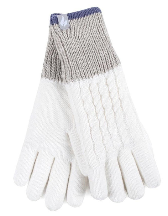 Ladies Heat Weaver Heat Holders Gloves KISDON - Cream,  2 Sizes