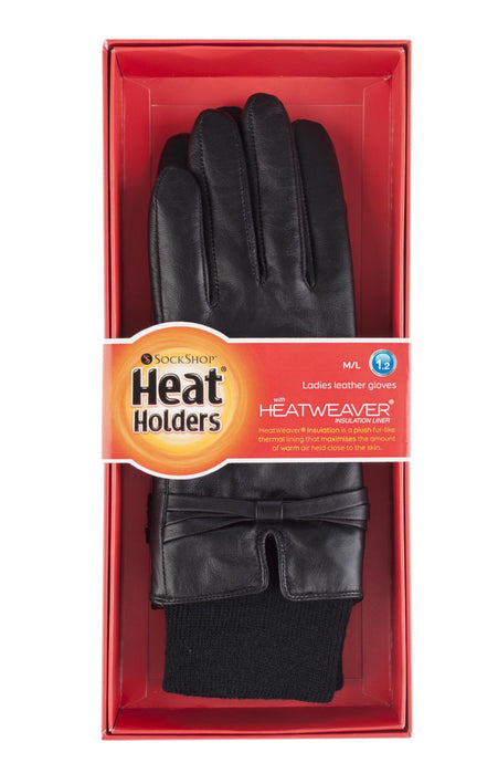 Ladies Heat Holders Leather Gloves 2 Sizes