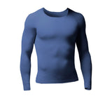 Mens Lightweight Thermal Long Sleeve Vest - Indigo Marl - 5 Sizes