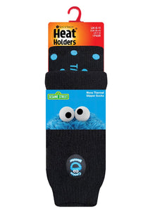 Mens Cookie Monster Heat Holders Slipper Socks 6-11 UK 39-45 EUR