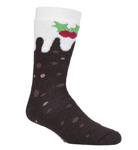 Mens Christmas Dual Layer Heat Holders Christmas Pudding Edition Gripper Socks 6-11 UK 39-45 EUR