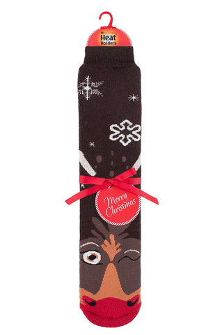 Mens Christmas Dual Layer Heat Holders Rudolph Edition Gripper Socks 6-11 UK 39-45 EUR
