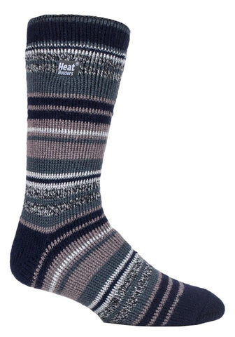 Mens Heat Holders Socks 6-11 UK 39-45 EUR Multi Twisted Stripe  Moonit Moors