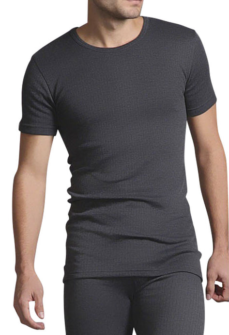 Mens Thermal Short Sleeve Vest - Charcoal, 5 Sizes