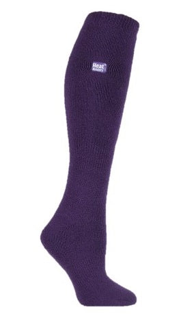Ladies Long LITE Heat Holders Socks Purple 4-8 UK 37-42 EUR