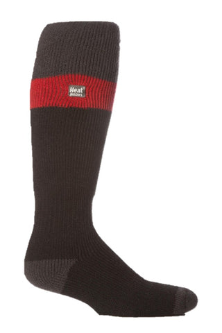 Mens Heat Holders Ski Socks 6-11 UK 39-45 EUR - Charcoal Red Black