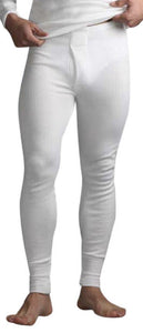 Mens Thermal Long Johns - White, 5 Sizes
