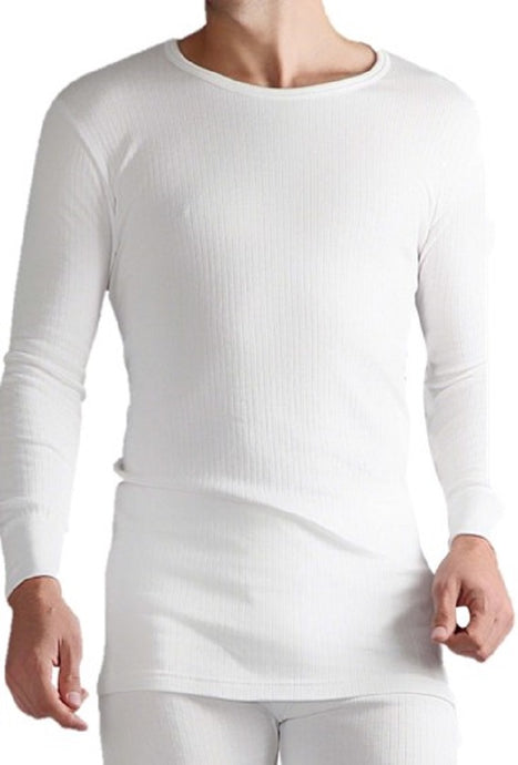 Mens Thermal Long Sleeve Vest - White, 5 Sizes