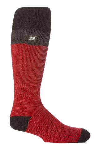 Mens Heat Holders Ski Socks 6-11 UK 39-45 EUR - Black Charcoal Red
