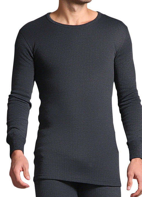 Mens Thermal Long Sleeve Vest - Charcoal, 5 Sizes