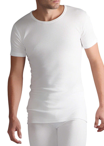 Mens Thermal Short Sleeve Vest - White, 5 Sizes