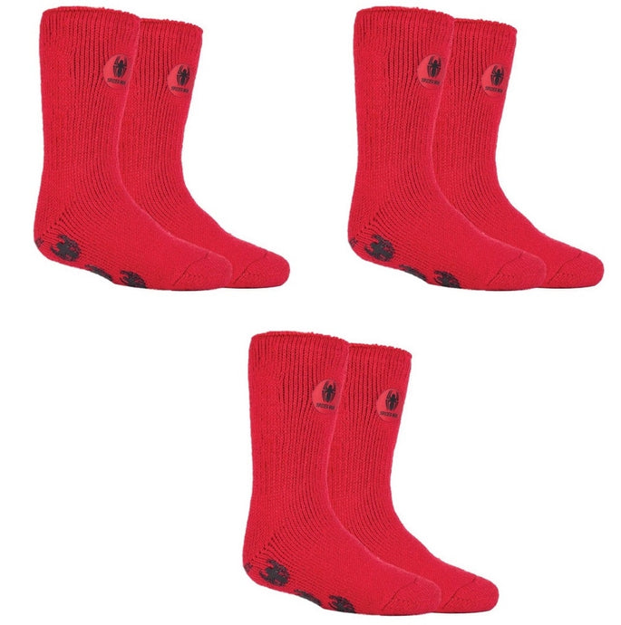SPECIAL OFFER ... 3 Pairs SPIDERMAN Boys /  Kids Heat Holders Thermal Licensed  Character Slipper Grip Socks 2 sizes