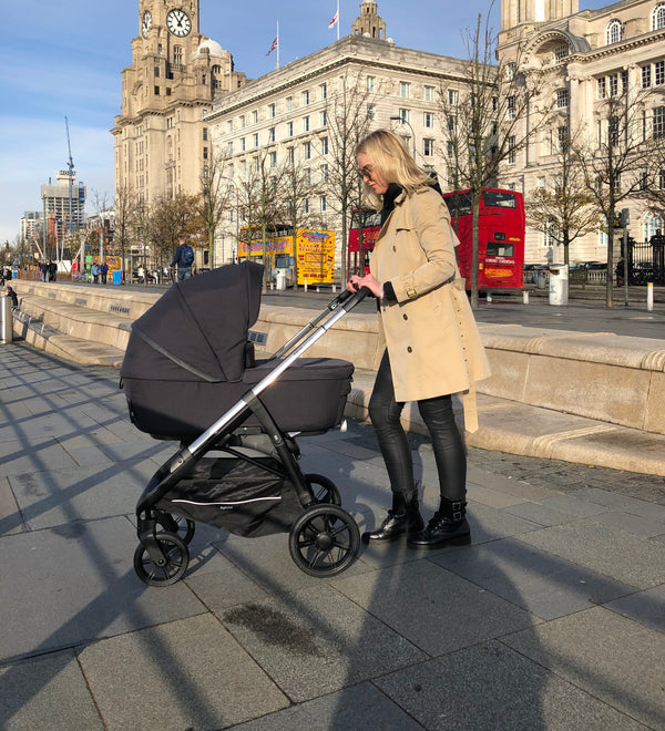 The Inglesina Aptica Pram System being used in the streets of Liverpool
