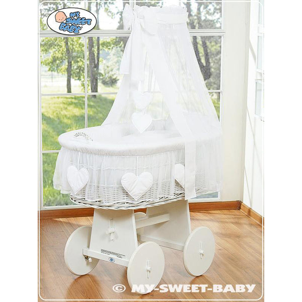My Sweet Baby Amelie white wicker crib with drape