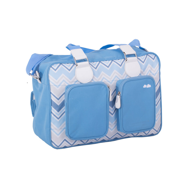 My Babiie Samantha Faiers Dreamiie Blue Chevron Deluxe Changing Bag