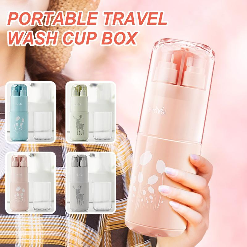 Portable Travel Toiletry Partition Wash Cup Box