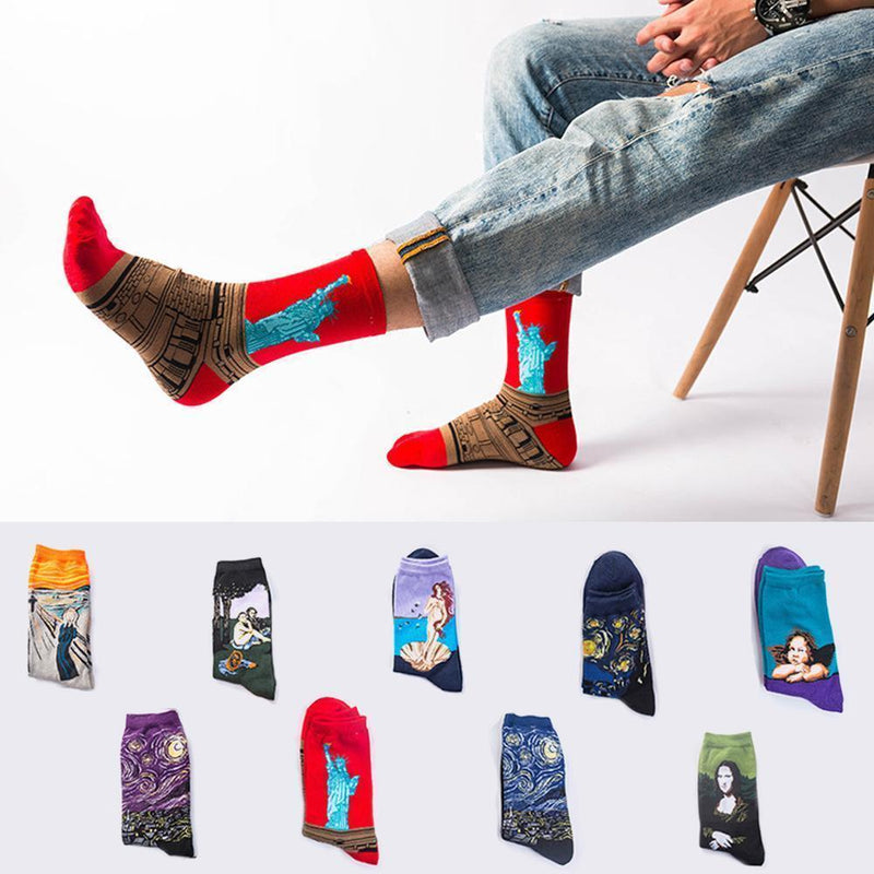 Classic Art Patterned Mid Socks