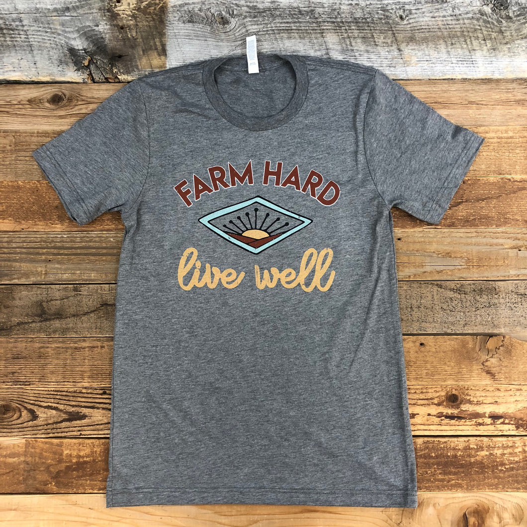 UNISEX Farm Hard Live Well Tee - Heather Grey