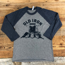 Load image into Gallery viewer, UNISEX Gleaner Old Iron Baseball Tee - Heather Grey/Vintage Navy
