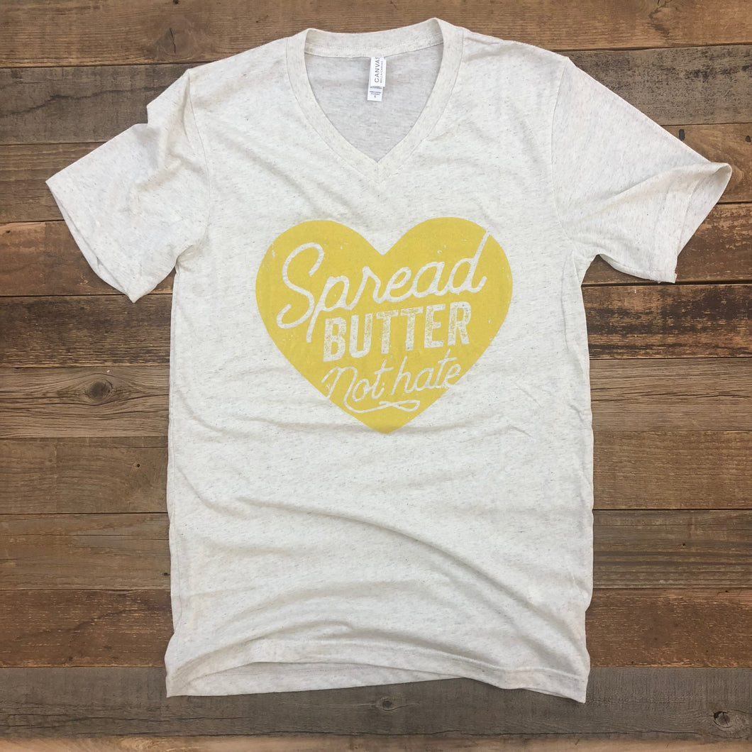 Women's Spread Butter, Not Hate V-Neck - Oatmeal