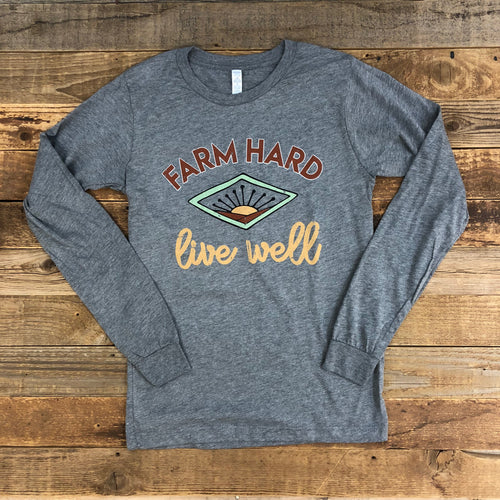 UNISEX Farm Hard, Live Well Long Sleeve - Heather Grey
