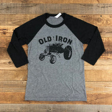Load image into Gallery viewer, UNISEX Old Iron Baseball Tee - Heather Grey/Black