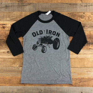 UNISEX Old Iron Baseball Tee - Heather Grey/Black
