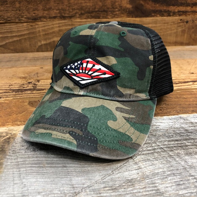 American Sunrise Hat - Green Camo/Black