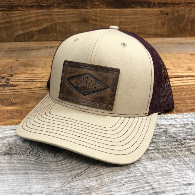 Sunrise Leather Patch Hat - Khaki/Burgundy