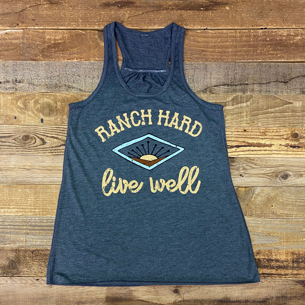 Women's Ranch Hard Sunrise Tank -  Dark Grey