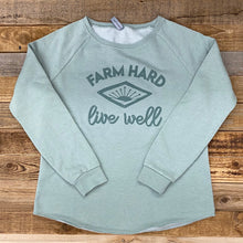 Load image into Gallery viewer, Women's Farm Hard, Live Well Crew Sweatshirt - Sage