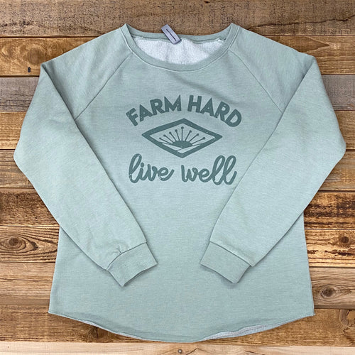 Women's Farm Hard, Live Well Crew Sweatshirt - Sage
