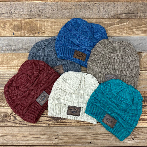The Classic Sunrise Leather Patch Beanie