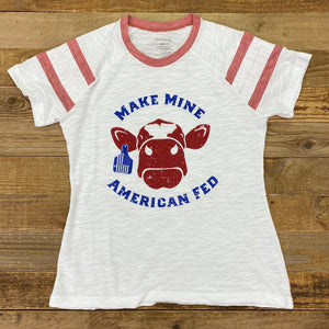Women's American Fed Beef Retro Tee - White