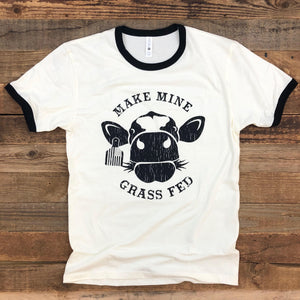 Grass Fed Cow Ringer Tee - Natural/Black