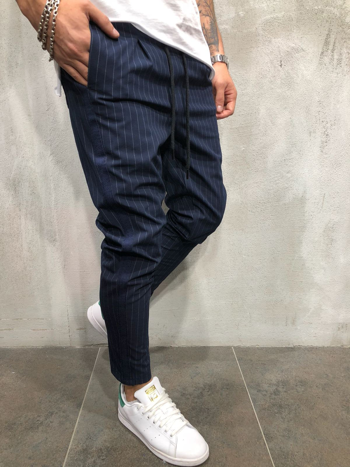 Ankle Pants Streetwear Striped 3935