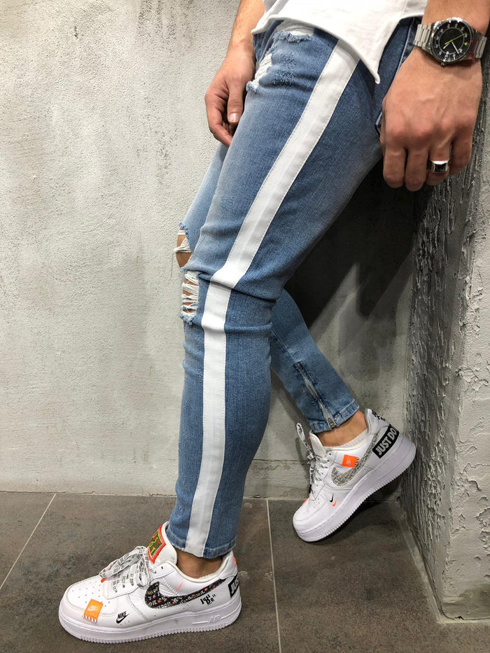 Ripped Jeans White Side Stripes 4026