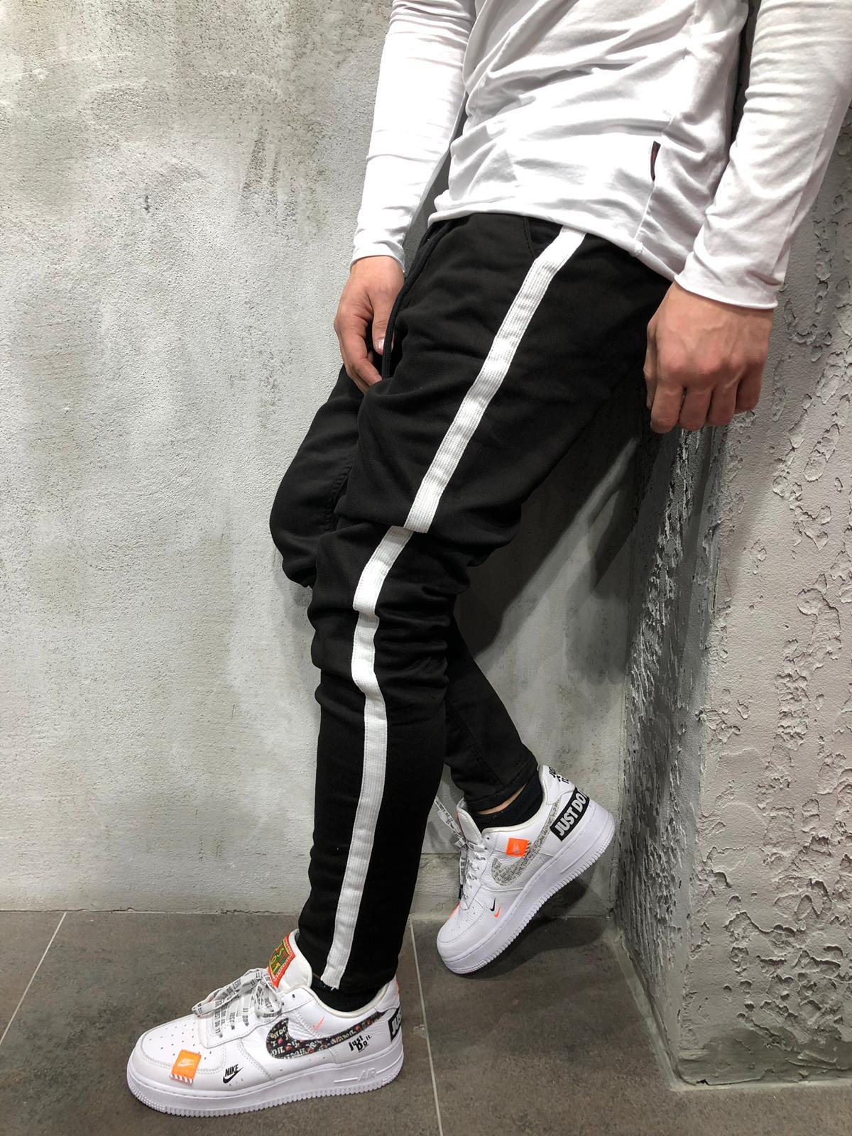 Jogger Jeans White Side Stripes 4107