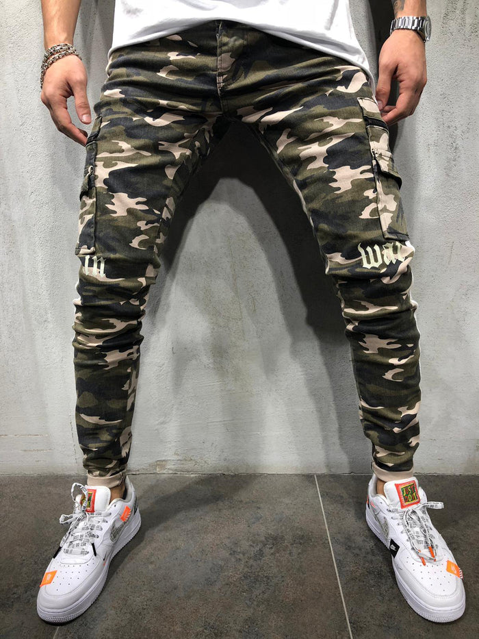 Cargo Camouflage Jeans Side Stripes 4366